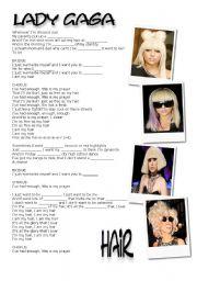 English Worksheets: Hair  by Lady Gaga