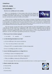 English Worksheets: Global peace test