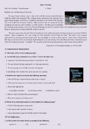 English Worksheet: Space tourism test
