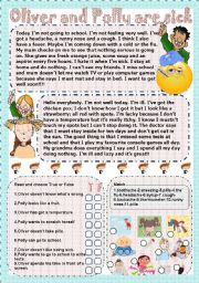 English Worksheets: Oliver and Polly are sick