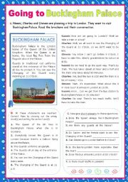 English Worksheet: A trip to London - Going to Buckingham Palace