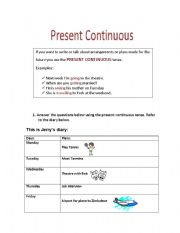 Present continuous for future arrangements