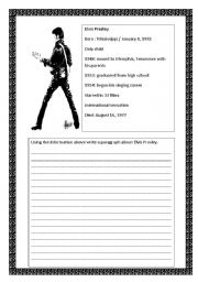English Worksheet: Writing about Elvis Presley
