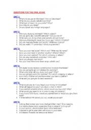 English Worksheet: Questions for oral exam
