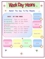 English Worksheets: weekdays