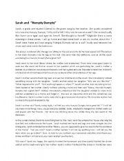 English Worksheets: Sarah and Humpty Dumpty