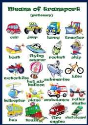 English teaching worksheets: Means of transport