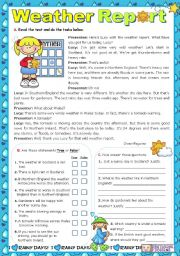 English Worksheet: Weather Report  -  Reading Comprehension