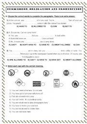 English Worksheet: permission - obligation - necessity
