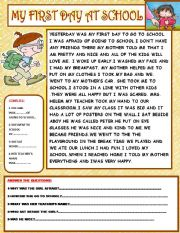 English Worksheet: MY FIRST DAY AT SCHOOL