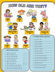English Worksheets: HOW OLD ARE THEY?