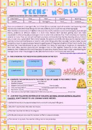 English Worksheet: Reading comprehension �Teens� World� + �do� vs �make� + Relative Clauses (defining and non defining) KEY INCLUDED