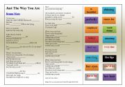 English Worksheets: SONG: Bruno Mars  Just The Way You Are