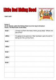 English Worksheets: LRRH  Writing frame scene 2 MA