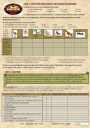 English Worksheet: Reality TV game show : The Australian Survivor - video extract + pair work