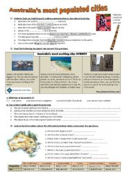English Worksheet: Australia�s most populated places - a brochure about Sydney - comparative and superlative **editable**