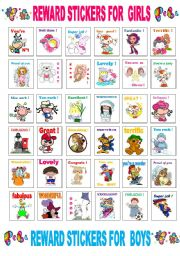 reward stickers for boys and girls