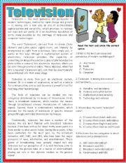 English Worksheet: Reading comprehension-television