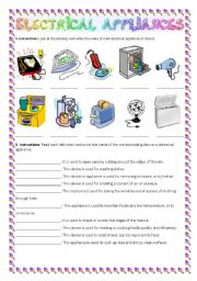 English Worksheet: Electrical appliances practice