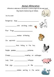 Worksheet Alliteration Worksheets english teaching worksheets alliteration animal alliteration