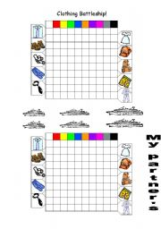 English Worksheets: Clothing Battleship