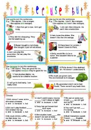 English Worksheets: and-because-but