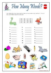English Worksheets: How Many Words