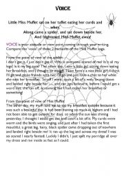 English Worksheet: Little Miss Muffet�s experience from 2 viewpoints - persuasive text
