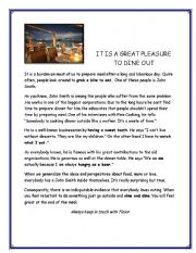 English Worksheet: EATING OUT READING PASSAGE