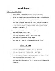 English Worksheet: personal hygiene and safety rules