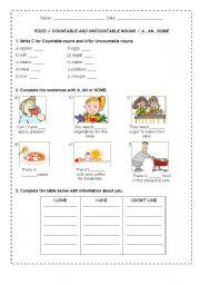English Worksheets: Food / Countable Uncountable Nouns
