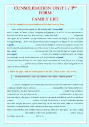 English Worksheet: CONSOLIDATION UNIT 1 / 3RD FORM FAMILY LIFE