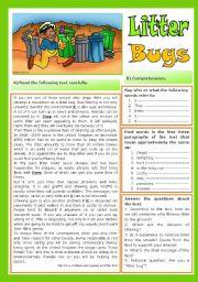 English Worksheet: Litter Bugs