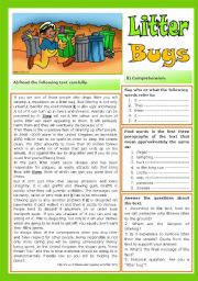English Worksheets: Litter Bugs