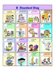 English Worksheets:  GREAT SPEAKING ACTIVITY!!   A STANDARD DAY.