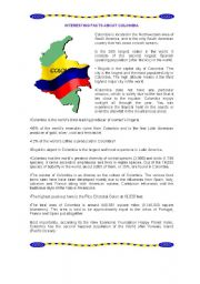 English Worksheets: Interesting Facts about Colombia
