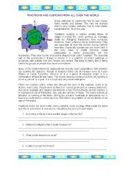 English Worksheet: Traditions and Customs from all over the world (Spain)