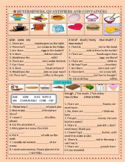 English Worksheet: DETERMINERS, QUANTIFIERS & CONTAINERS