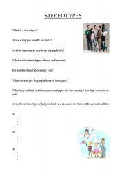 Worksheet Stereotype Worksheets english teaching worksheets stereotypes stereotypes