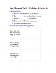 english worksheets sun moon and earth. Black Bedroom Furniture Sets. Home Design Ideas