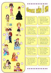 English Worksheet: Guess who I am