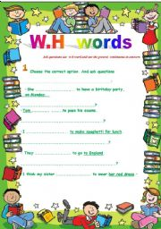 English Worksheets: w-h words   / w-h questions
