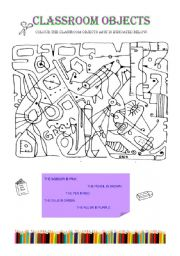 English Worksheet: Search and colour 2( classroom objects)