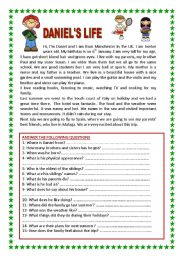 English Worksheet: READING FOR BEGINNERS WITH LOTS OF QUESTIONS AND GRAMMAR EXERCISES (2 PAGES) YOLANDA