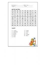 English Worksheet: Numbers + Colors Crossword