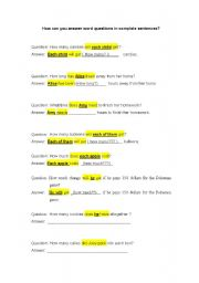 English Worksheets: How to answer word answer