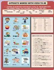 English Worksheet: OPPOSITES ADJECTIVES WITH TO BE AND FAMILY MEMBERS