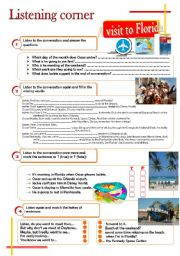 English Worksheets: Listening corner - A visit to Florida (4 exercises**answer key**tapescripts)