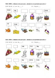 English Worksheet: pair work activity to ask the price of something