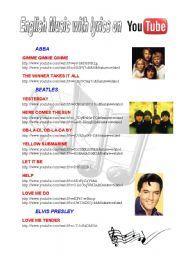 English Worksheet: English songs with lyrics on YouTube - 5 pages